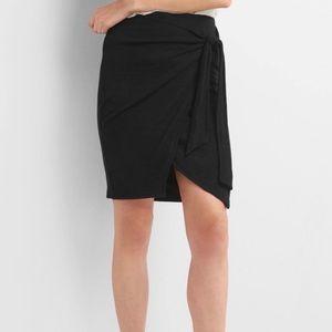 🆕 Gap Black Wrap Knot Tie Skirt Stretch Comfort